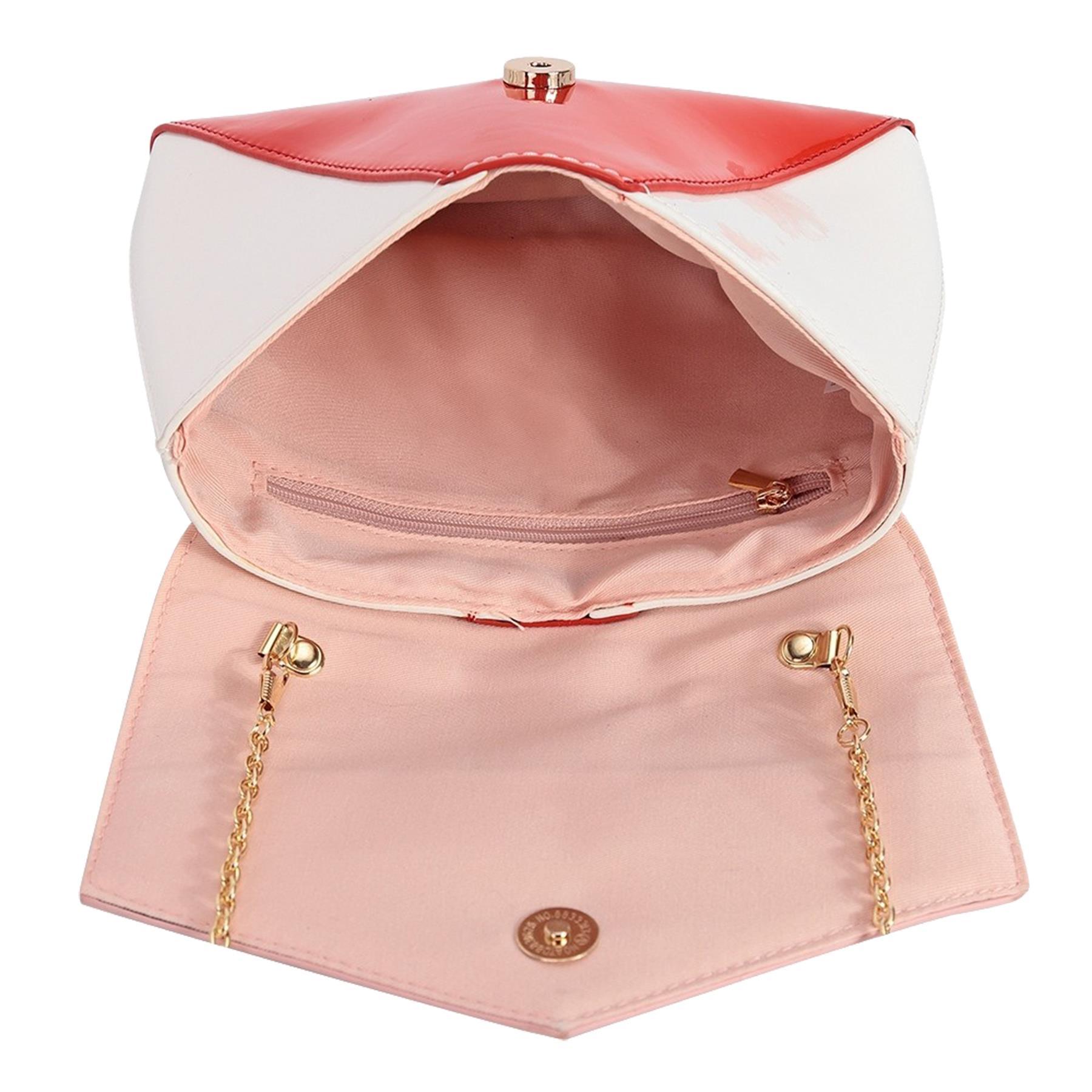 New-Women-s-Faux-Leather-Patent-Multicolour-Envelope-Clutch-Bag-Purse thumbnail 7