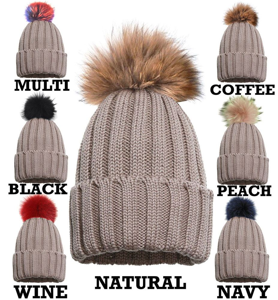 NEW-REAL-FUR-BIG-COLOUR-POM-POM-KNITTED-WINTER-SKI-CUSTOMIZABLE-BEANIE-HAT
