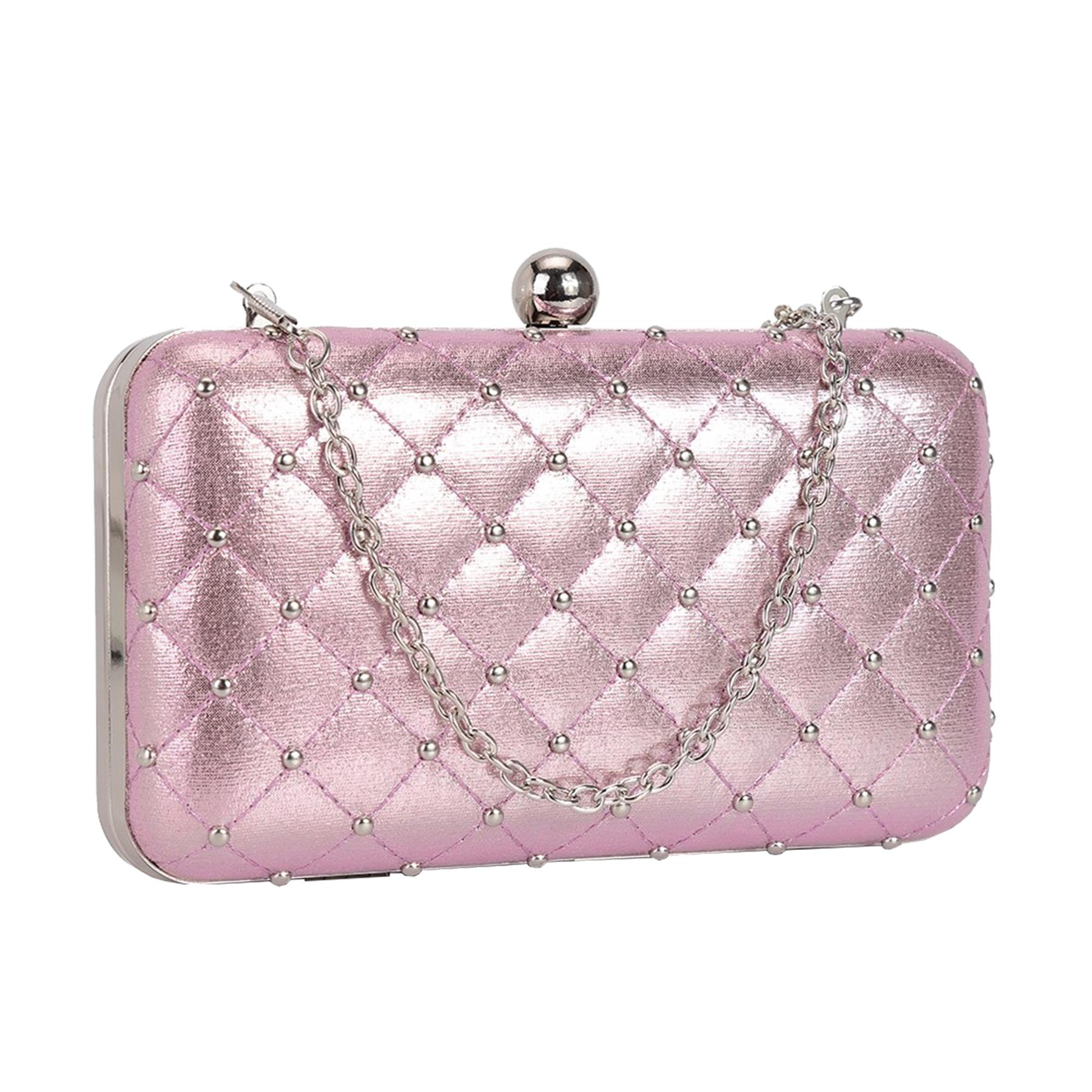 New-Women-s-Quilted-Studded-Faux-Leather-Party-Bridal-Prom-Box-Clutch-Bag thumbnail 9