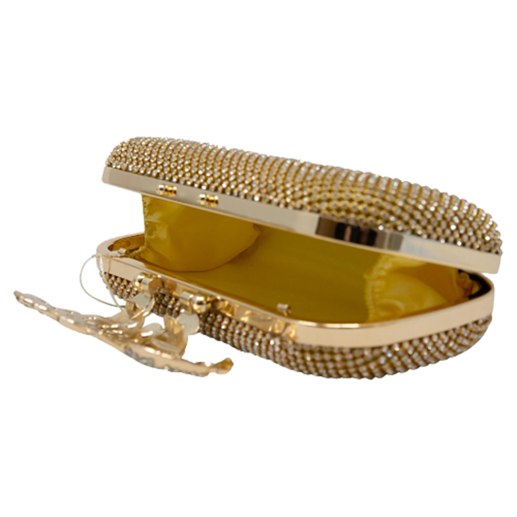 New-Women-s-Jewel-Elephant-Detail-Diamante-Chain-Box-Clutch-Bag-Purse thumbnail 9