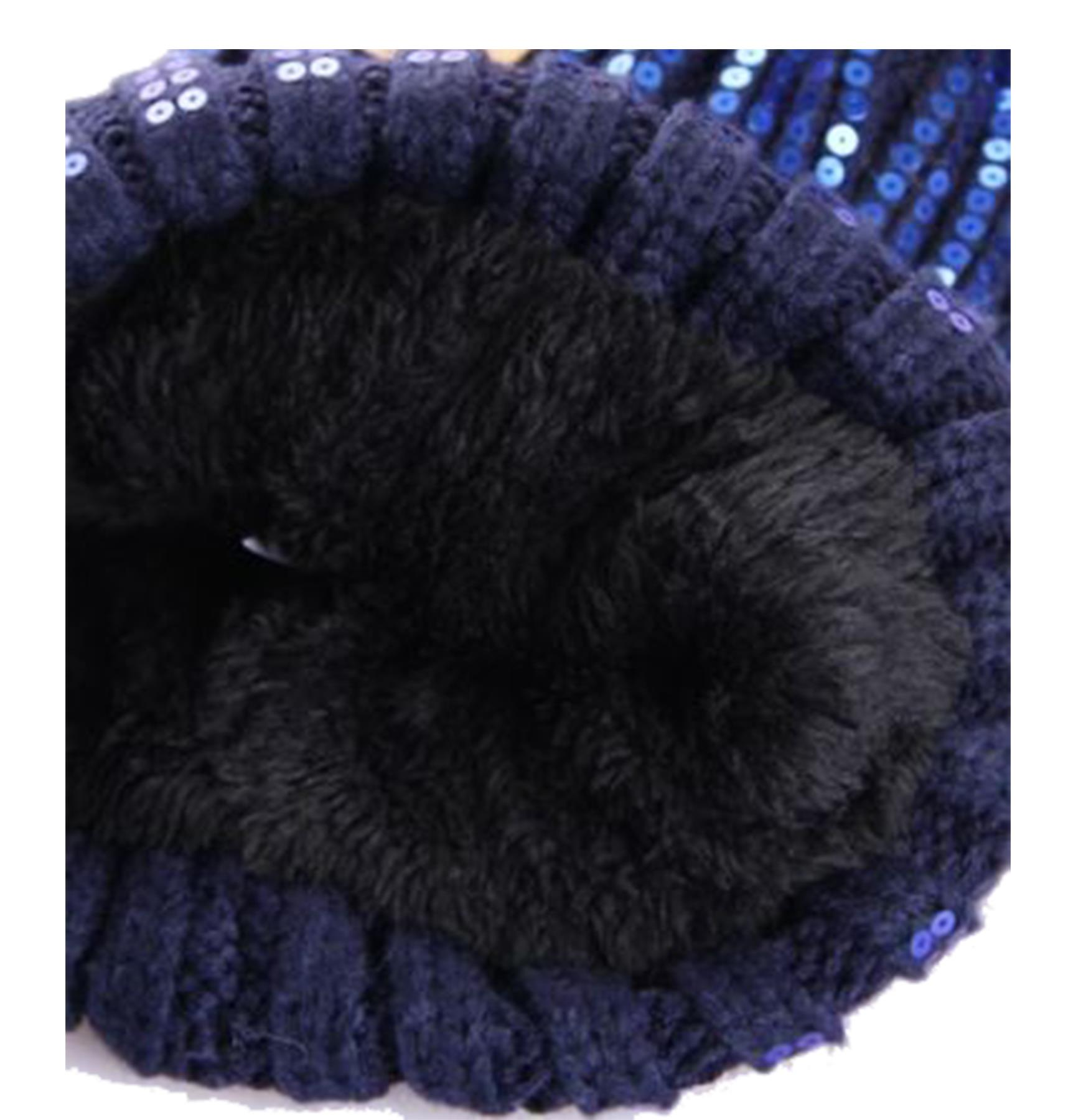 New-Ladies-Fleece-Lining-Sequins-Faux-Fur-Pom-Pom-Winter-Beanie-Hat thumbnail 7