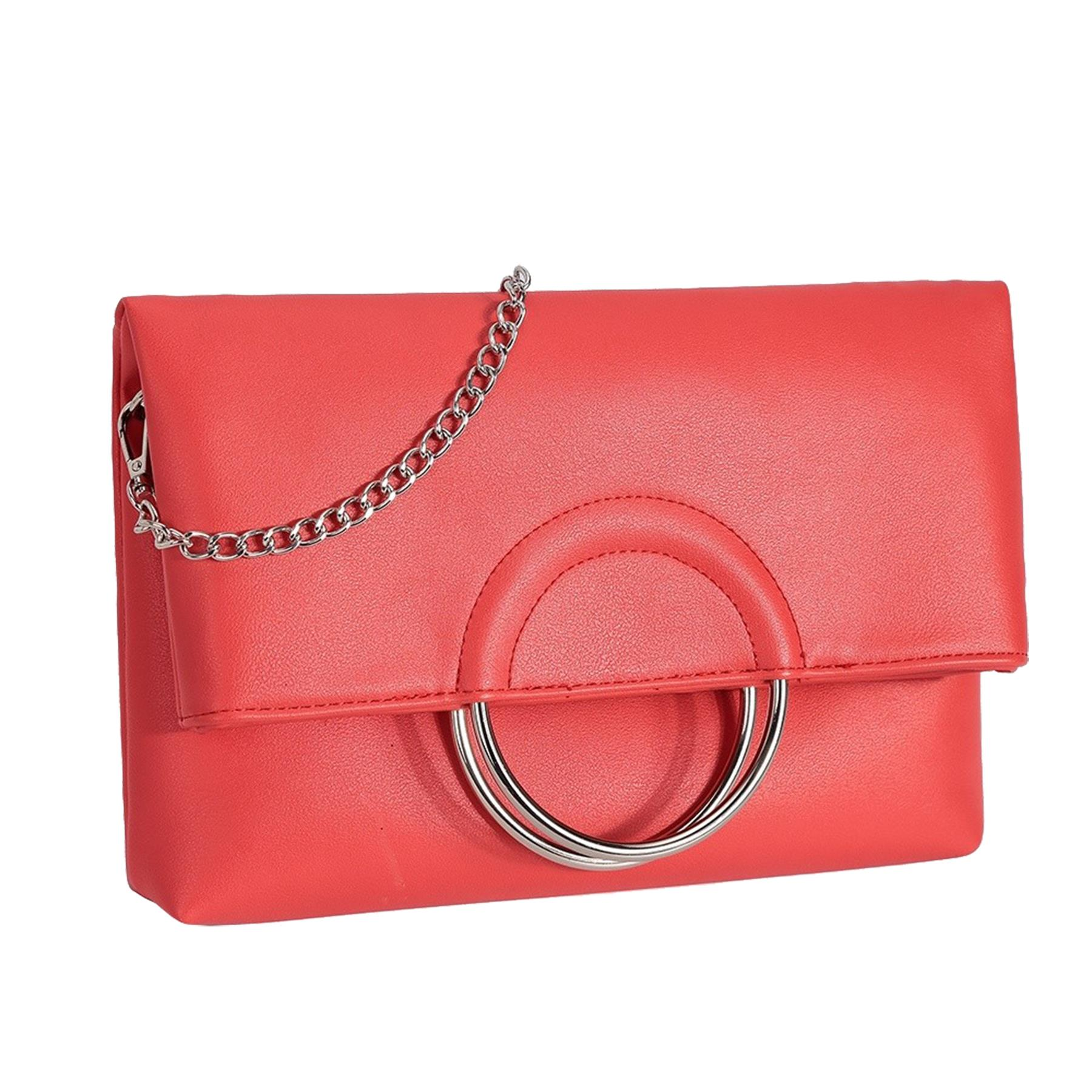 New-Women-s-Metallic-Ring-Top-Handles-Faux-Leather-Evening-Clutch-Bag thumbnail 6