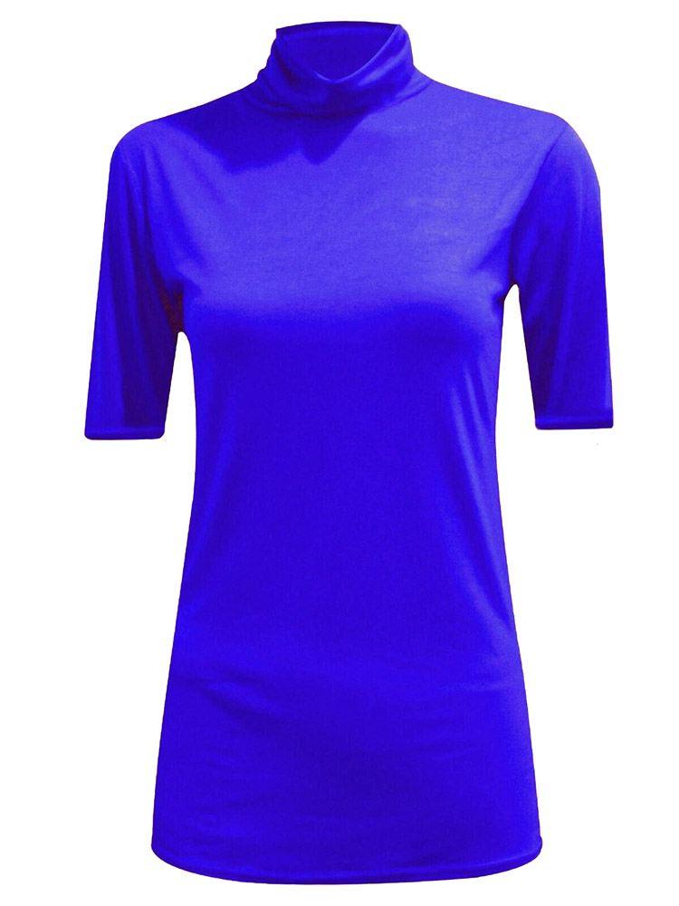 New-Women-s-Half-Sleeve-Plain-Polo-Roll-Neck-Top-Blouse-UK-8-26 thumbnail 17