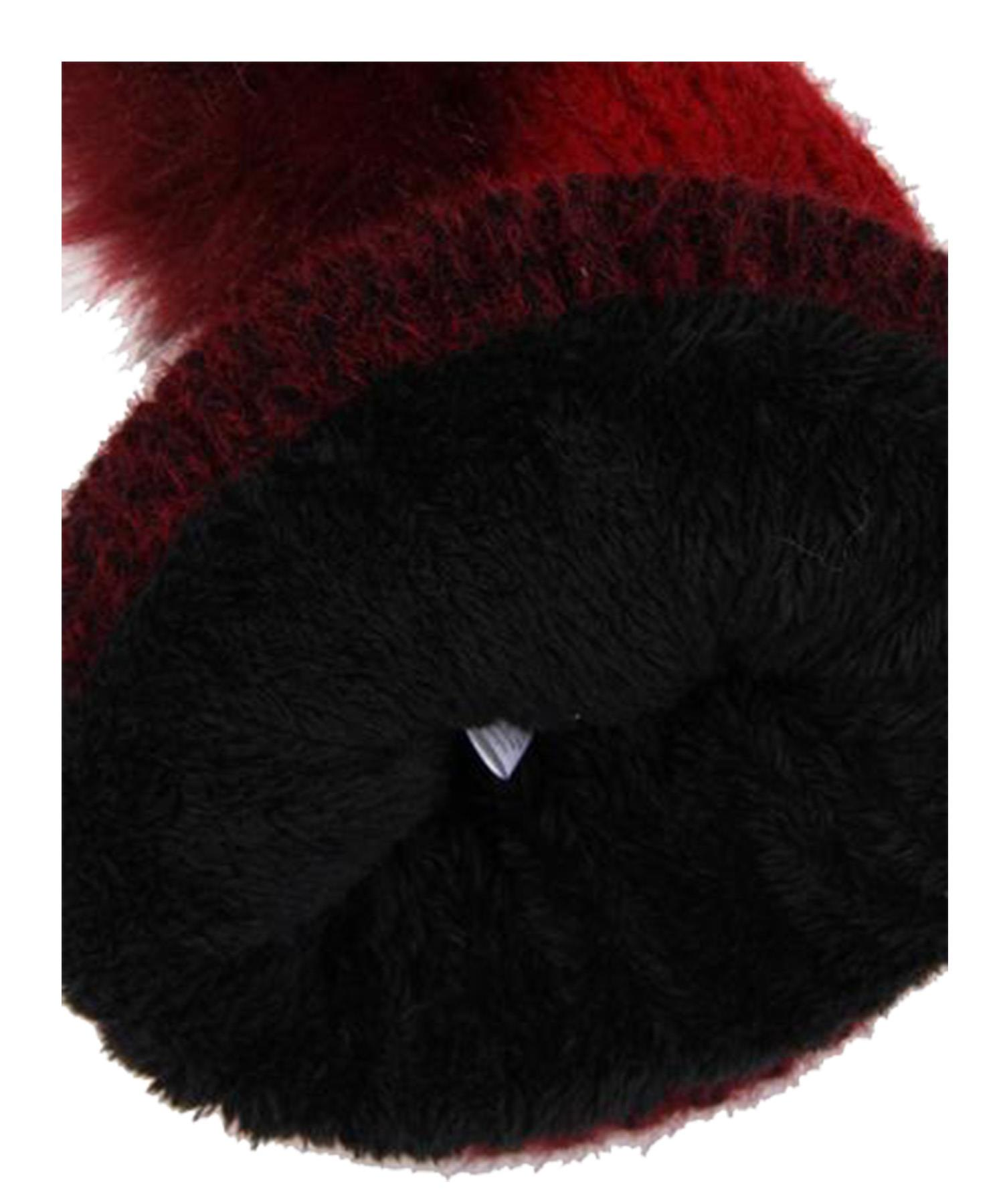 New-Ladies-Synthetic-Fur-Pom-Pom-Ombre-Shading-Fleece-Lined-Beanie-Hat thumbnail 4