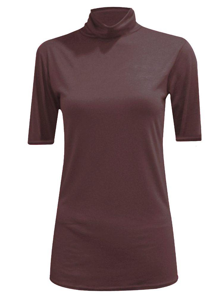 New-Women-s-Half-Sleeve-Plain-Polo-Roll-Neck-Top-Blouse-UK-8-26 thumbnail 4