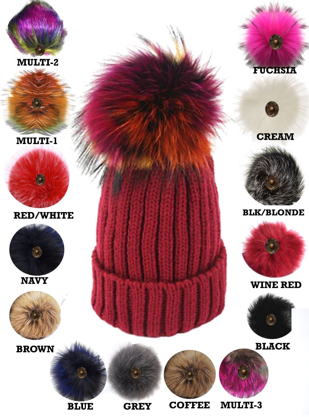 New Ladies Knitted Detachable Faux Fur Pom Pom Customizable Bobble ... 8fb0285a8a9