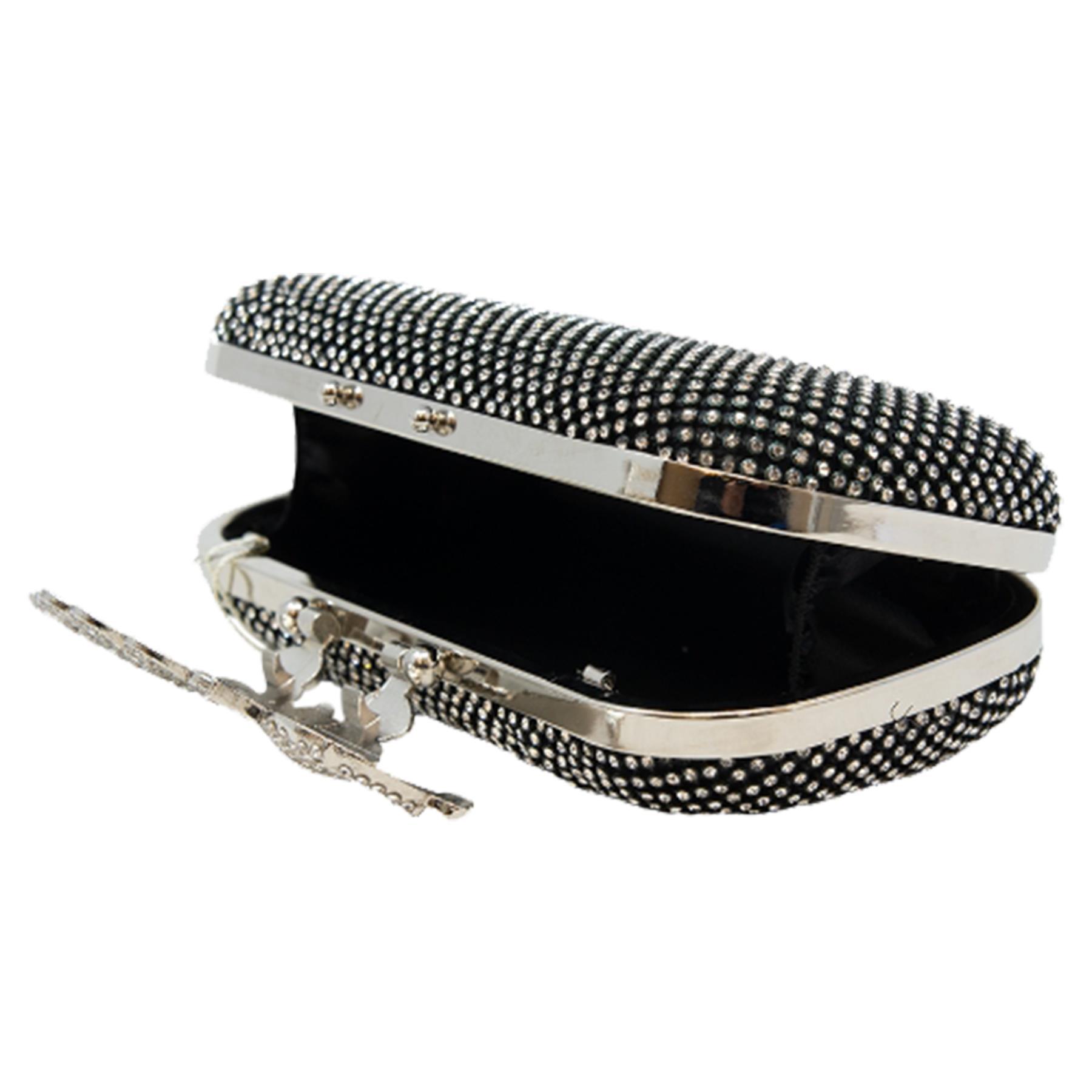 New-Women-s-Jewel-Elephant-Detail-Diamante-Chain-Box-Clutch-Bag-Purse thumbnail 4