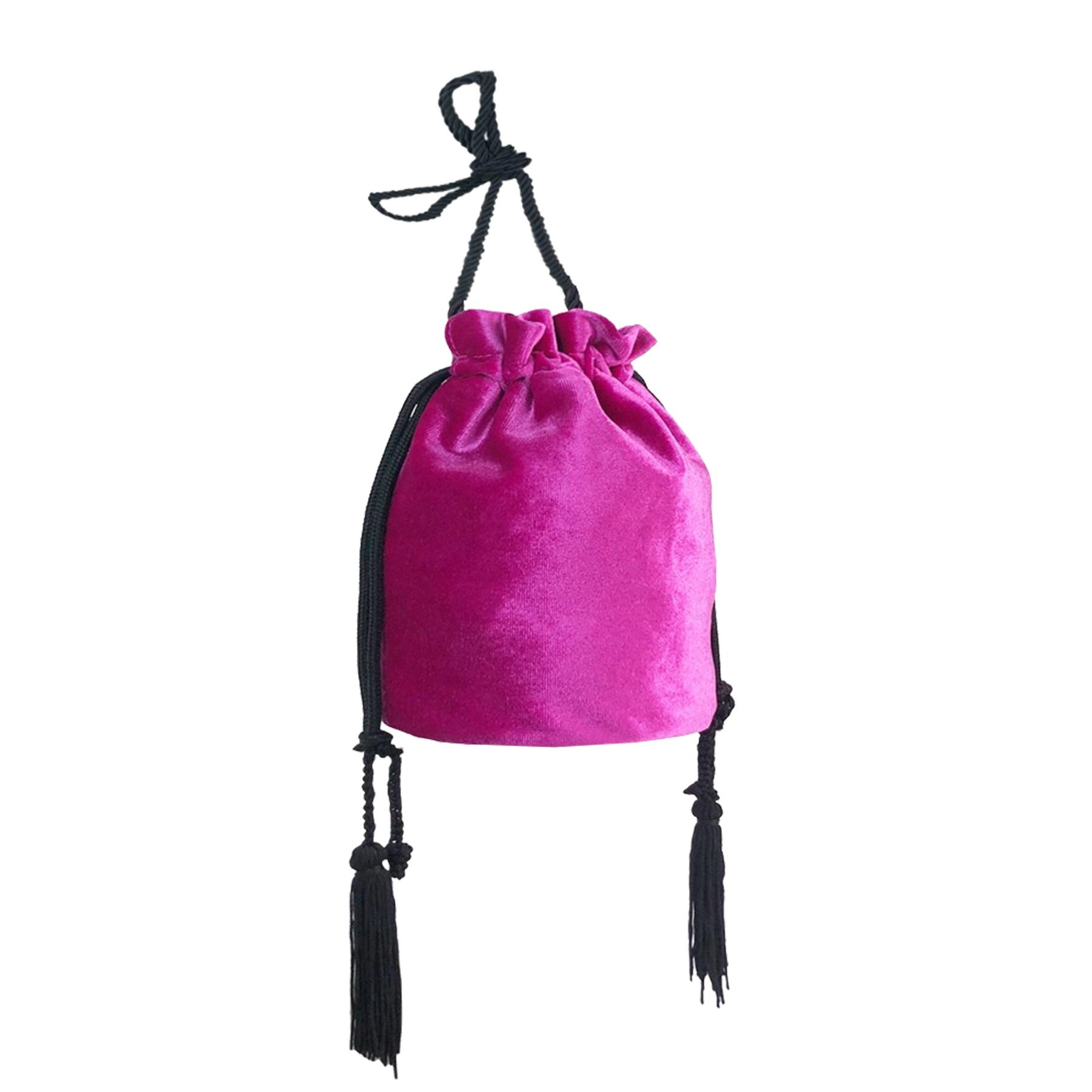 New-Women-s-Drawstring-Velvet-Velour-Tassels-Rope-Strap-Retro-Pouch-Bag thumbnail 15
