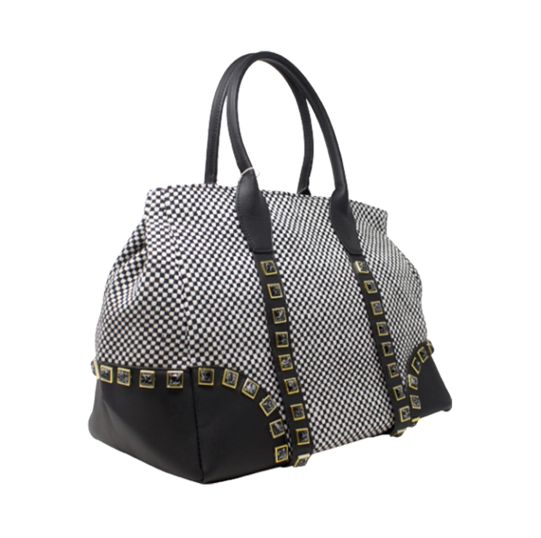New-Women-s-Small-Check-Pattern-Studded-Design-Tote-Bag-Handbag thumbnail 5