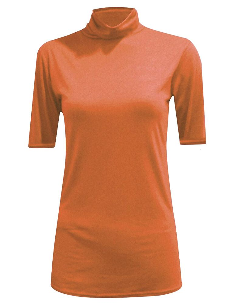 New-Women-s-Half-Sleeve-Plain-Polo-Roll-Neck-Top-Blouse-UK-8-26 thumbnail 18