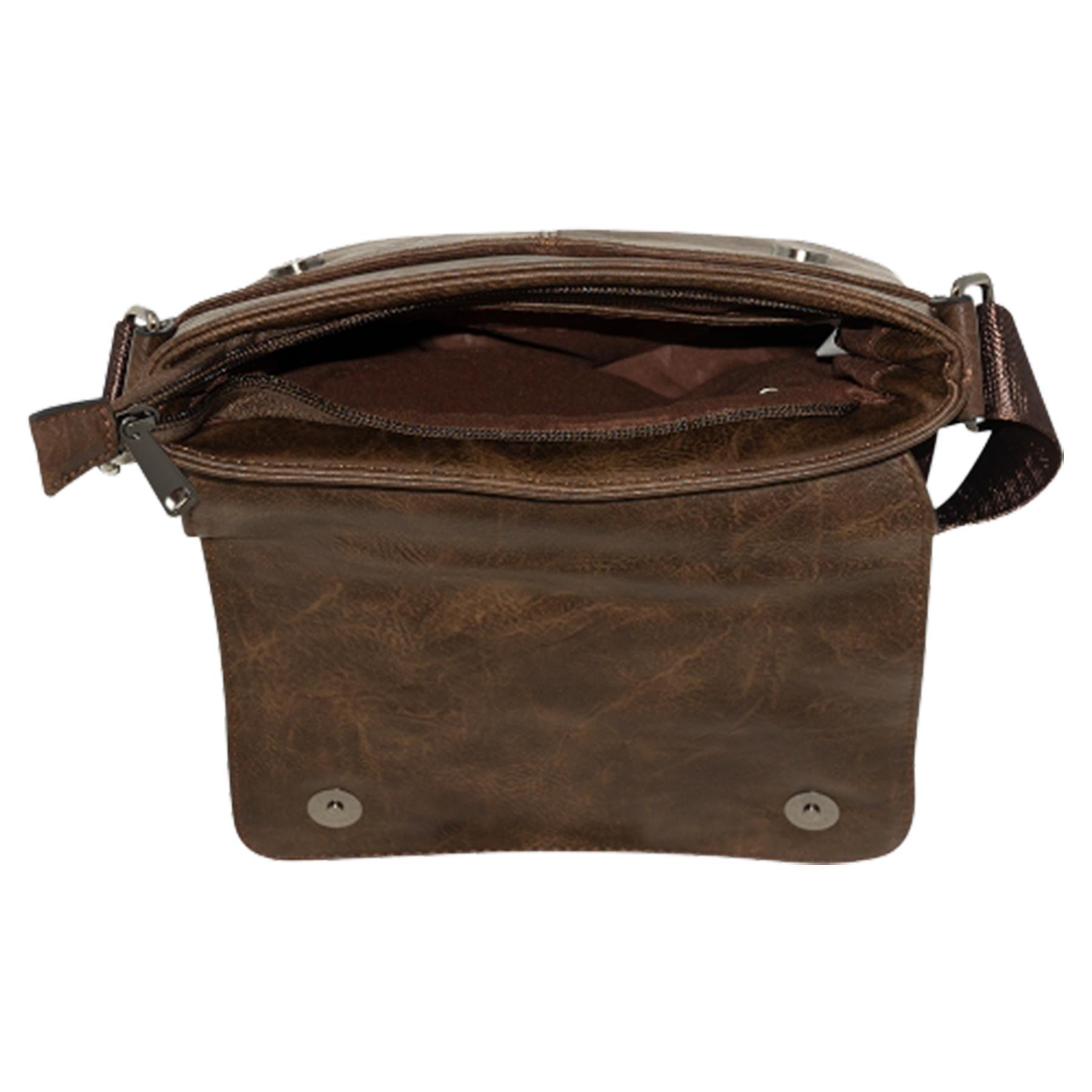 New-Plain-Faux-Leather-Men-s-Travel-Casual-Flap-Over-Messenger-Bag thumbnail 13