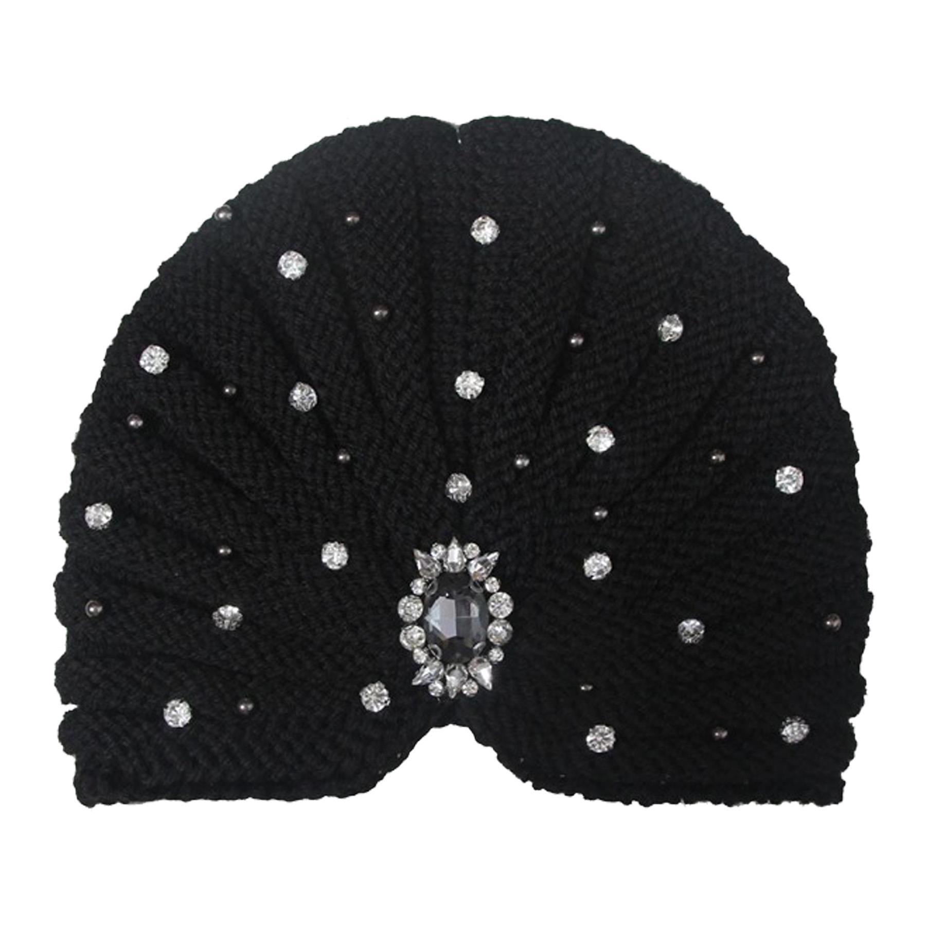 New-Women-s-Pleated-Knitted-Acrylic-Jewel-Detail-Headwear-Turban-Cap thumbnail 16