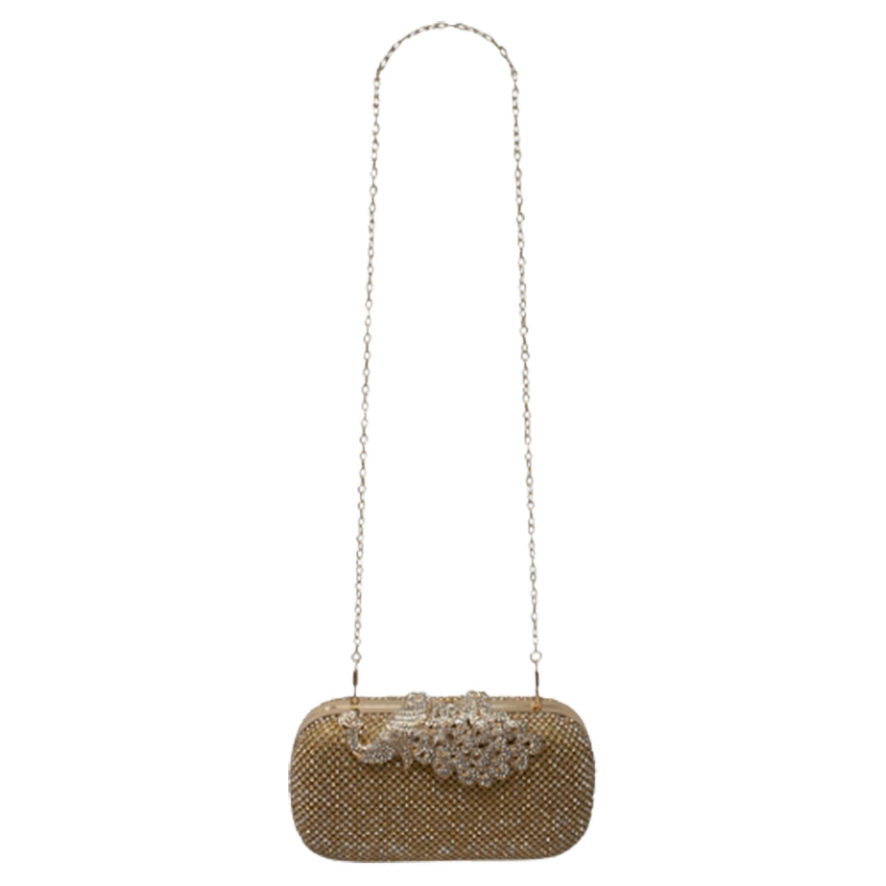 New-Women-s-Jewel-Elephant-Detail-Diamante-Chain-Box-Clutch-Bag-Purse thumbnail 11
