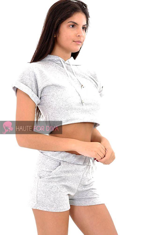 NEW LADIES WOMENS SUMMER GYM SET CROP TOP HOODIE SHORTS POCKETS UK 8 ... 8930f2858