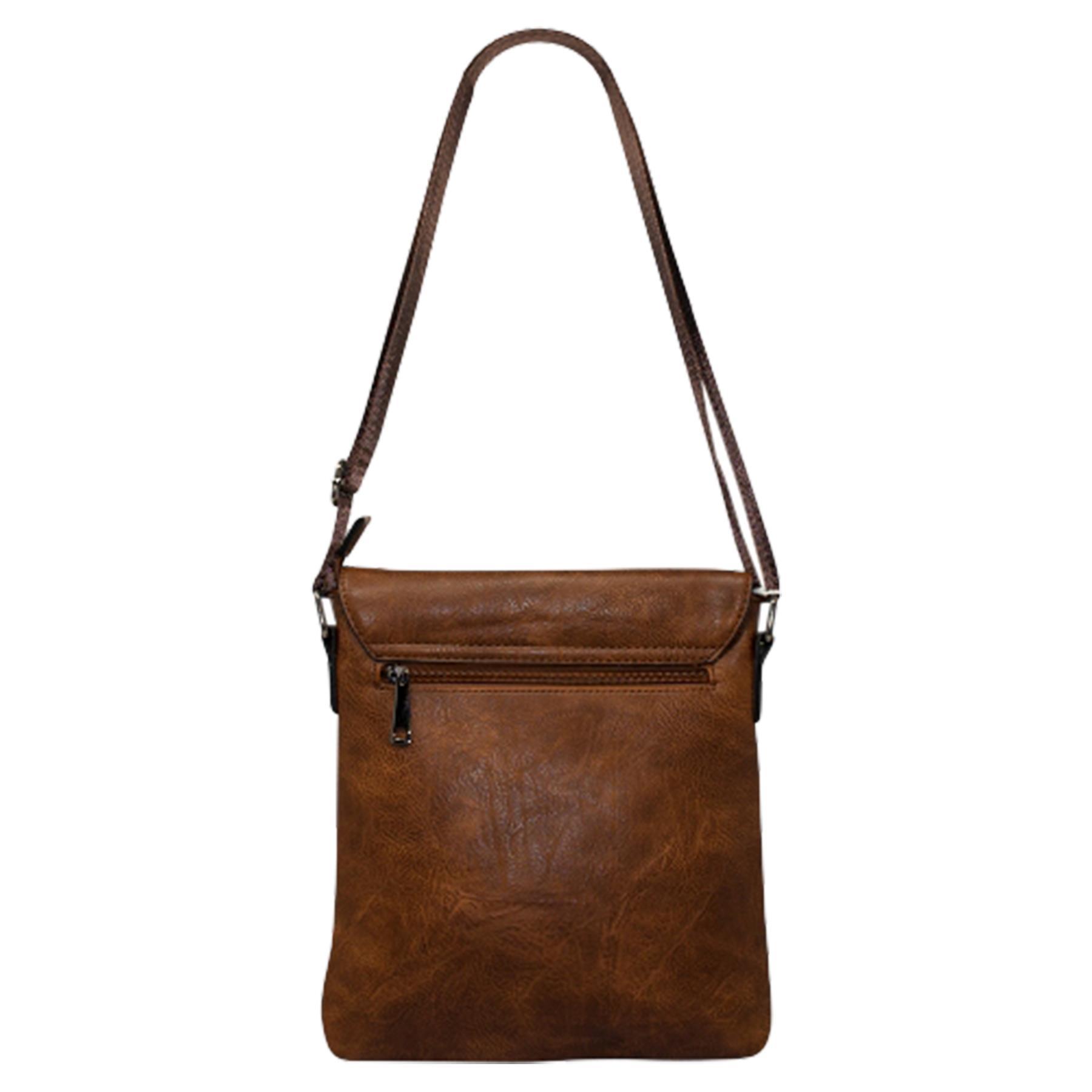 New-Plain-Faux-Leather-Men-s-Travel-Casual-Flap-Over-Messenger-Bag thumbnail 16