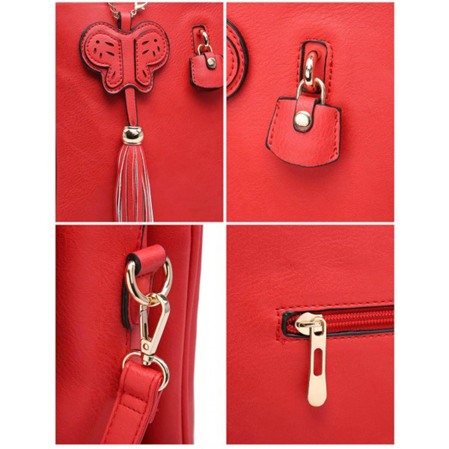 New-Synthetic-Leather-Butterfly-Tassel-Charm-Women-s-Shoulder-Tote-Bag thumbnail 12