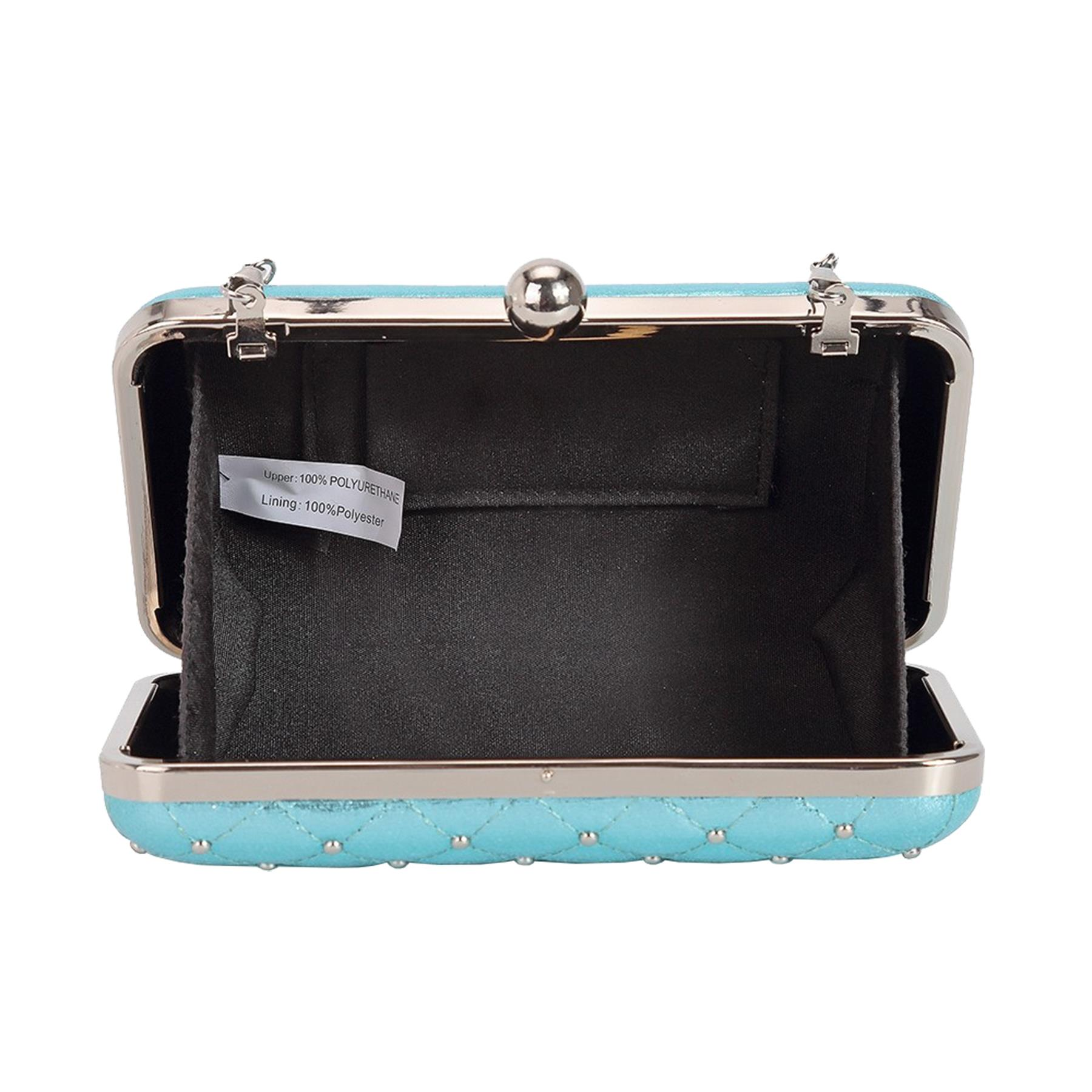New-Women-s-Quilted-Studded-Faux-Leather-Party-Bridal-Prom-Box-Clutch-Bag thumbnail 4