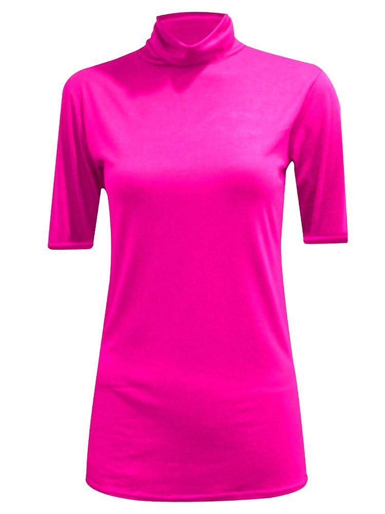 New-Women-s-Half-Sleeve-Plain-Polo-Roll-Neck-Top-Blouse-UK-8-26 thumbnail 8