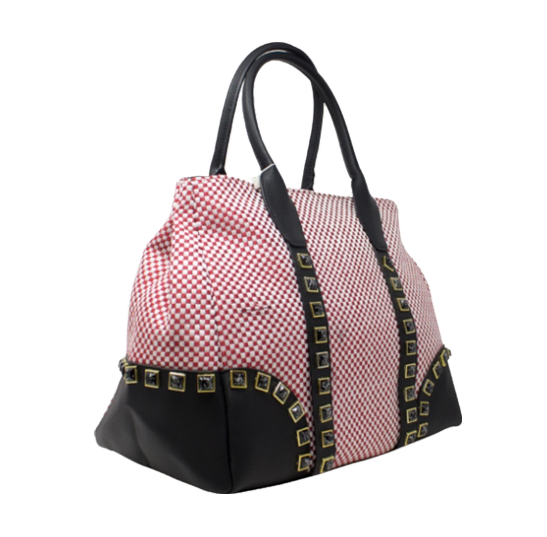 New-Women-s-Small-Check-Pattern-Studded-Design-Tote-Bag-Handbag thumbnail 17