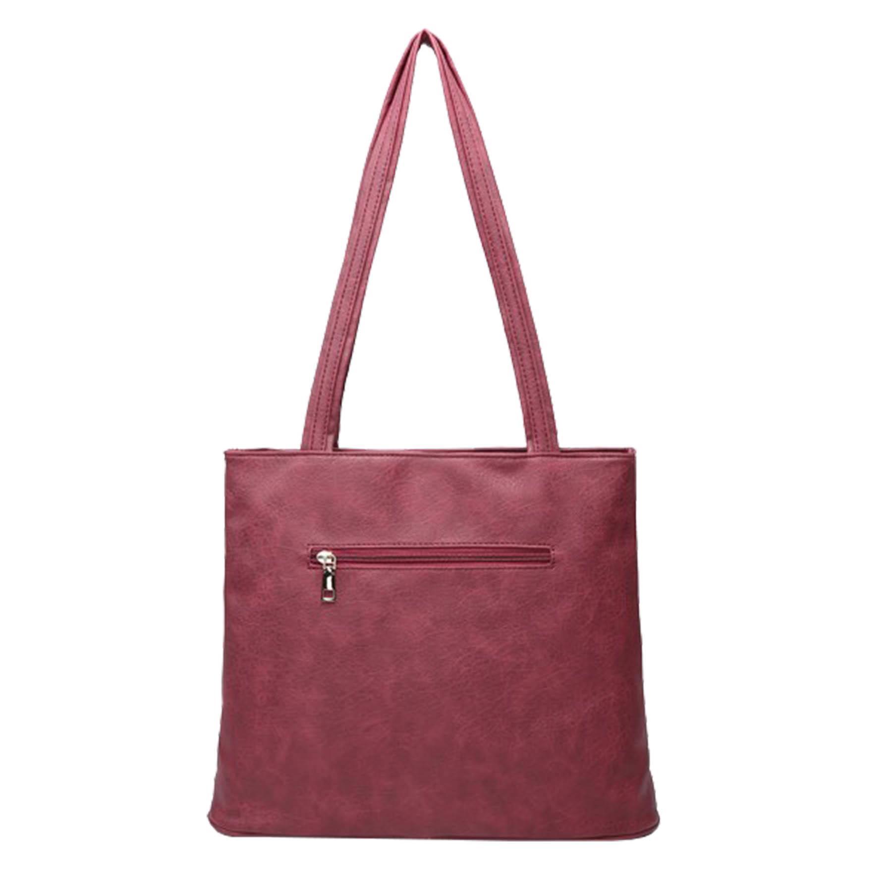 New-Ladies-Metallic-Detail-Double-Zipper-Faux-Leather-Shopper-Shoulder-Tote-Bag thumbnail 10