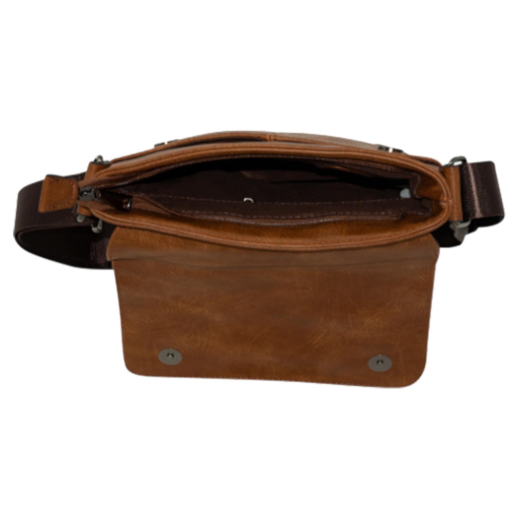 New-Plain-Faux-Leather-Men-s-Travel-Casual-Flap-Over-Messenger-Bag thumbnail 9