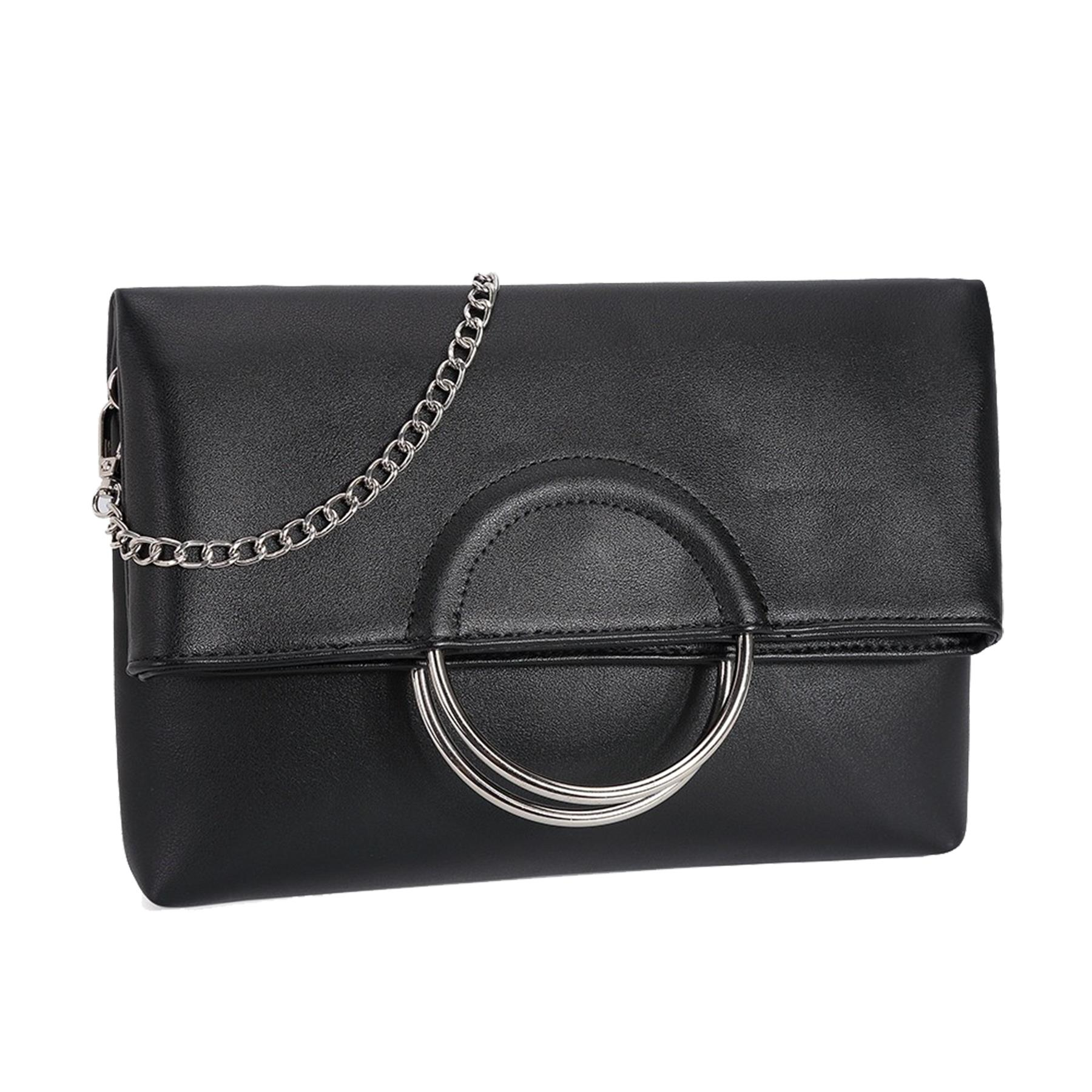 New-Women-s-Metallic-Ring-Top-Handles-Faux-Leather-Evening-Clutch-Bag thumbnail 3