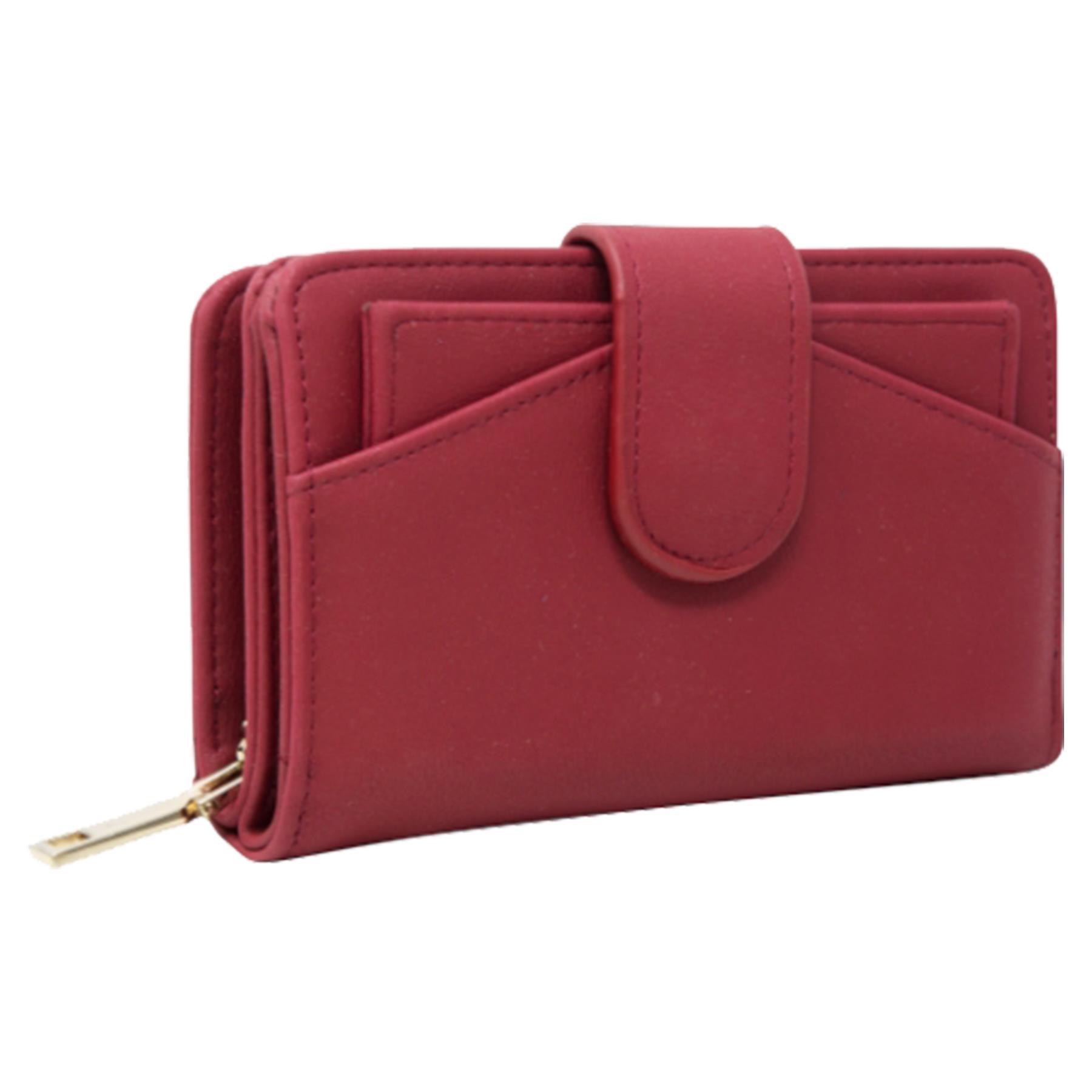New-Ladies-Card-Slots-Zipped-Pocket-Faux-Leather-Basic-Wallet-Purse thumbnail 18