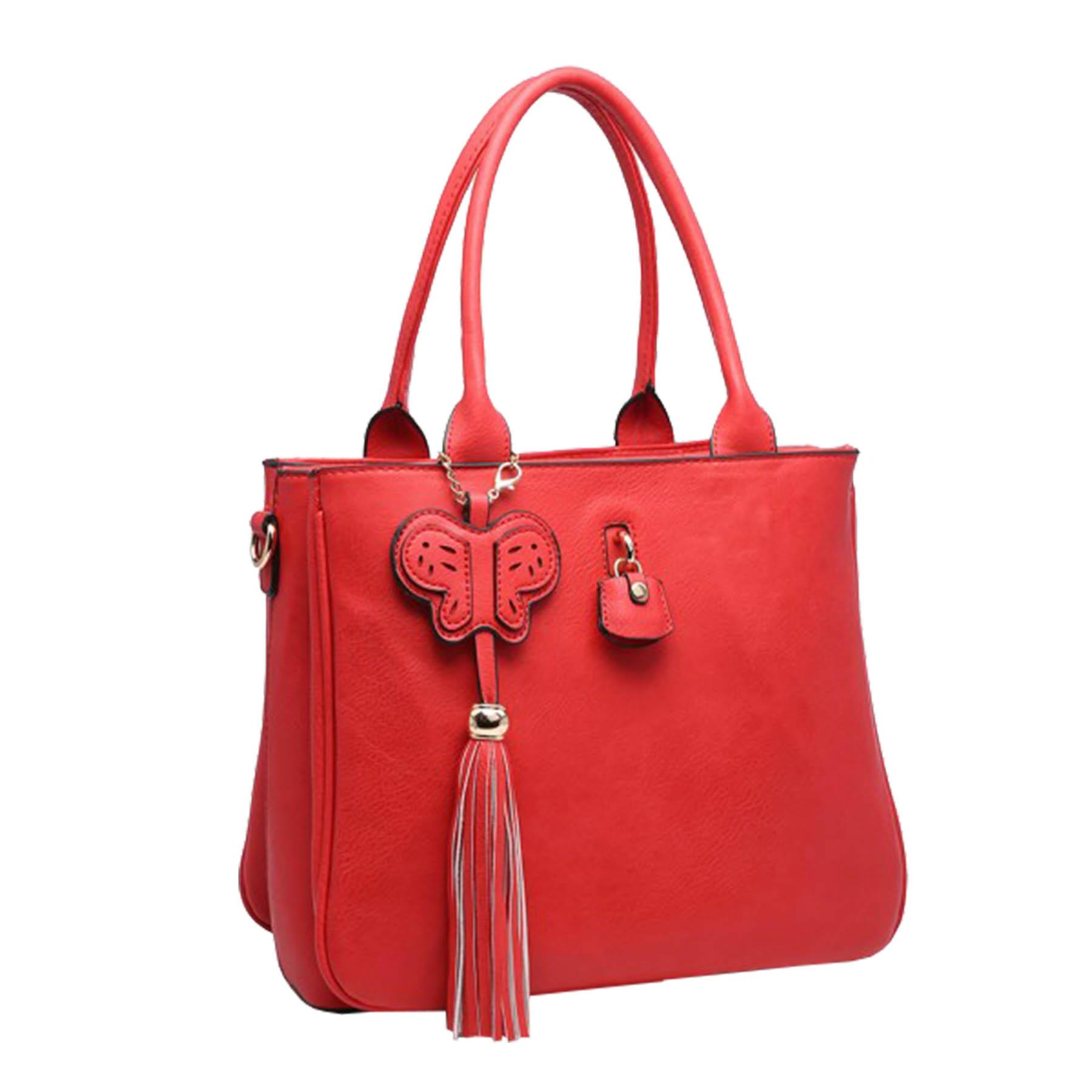 New-Synthetic-Leather-Butterfly-Tassel-Charm-Women-s-Shoulder-Tote-Bag thumbnail 9
