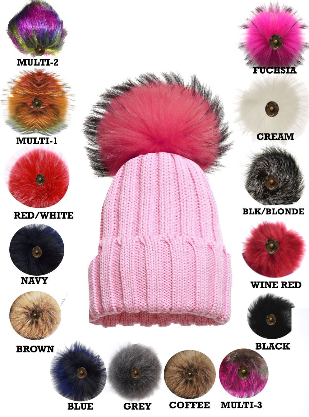 Well-liked WOMEN'S WINTER WARM BOBBLE BEANIE KNITTED CUSTOMIZABLE FAUX FUR  RV25