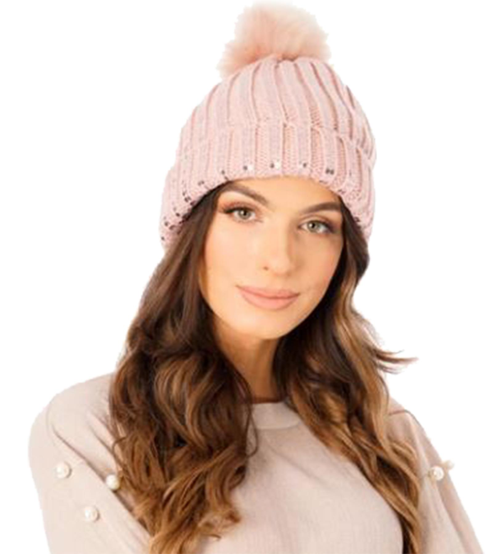 New-Ladies-Fleece-Lining-Sequins-Faux-Fur-Pom-Pom-Winter-Beanie-Hat thumbnail 10