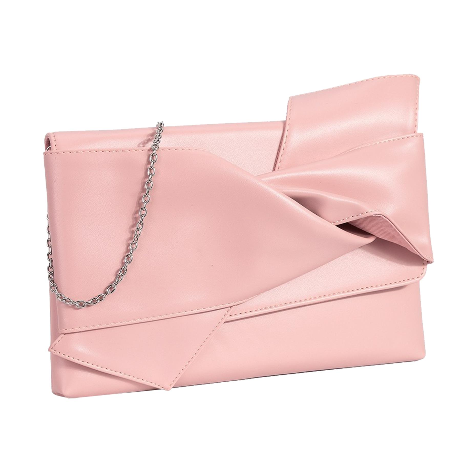New-Knot-Detail-Shiny-Synthetic-Leather-Ladies-Party-Clutch-Bag-Purse thumbnail 6