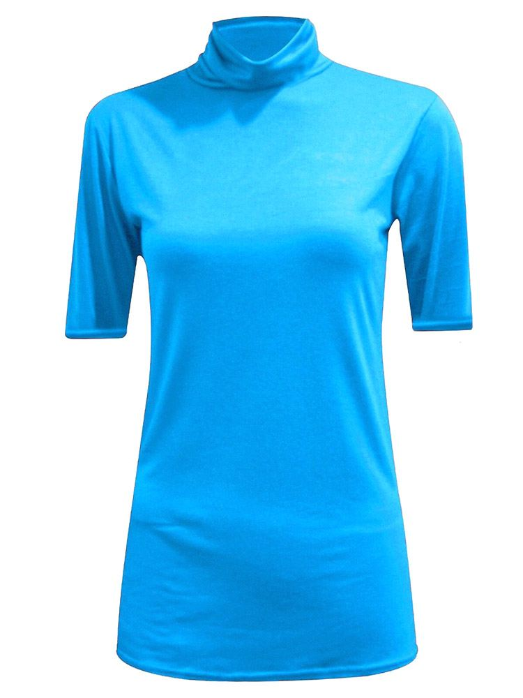 New-Women-s-Half-Sleeve-Plain-Polo-Roll-Neck-Top-Blouse-UK-8-26 thumbnail 20