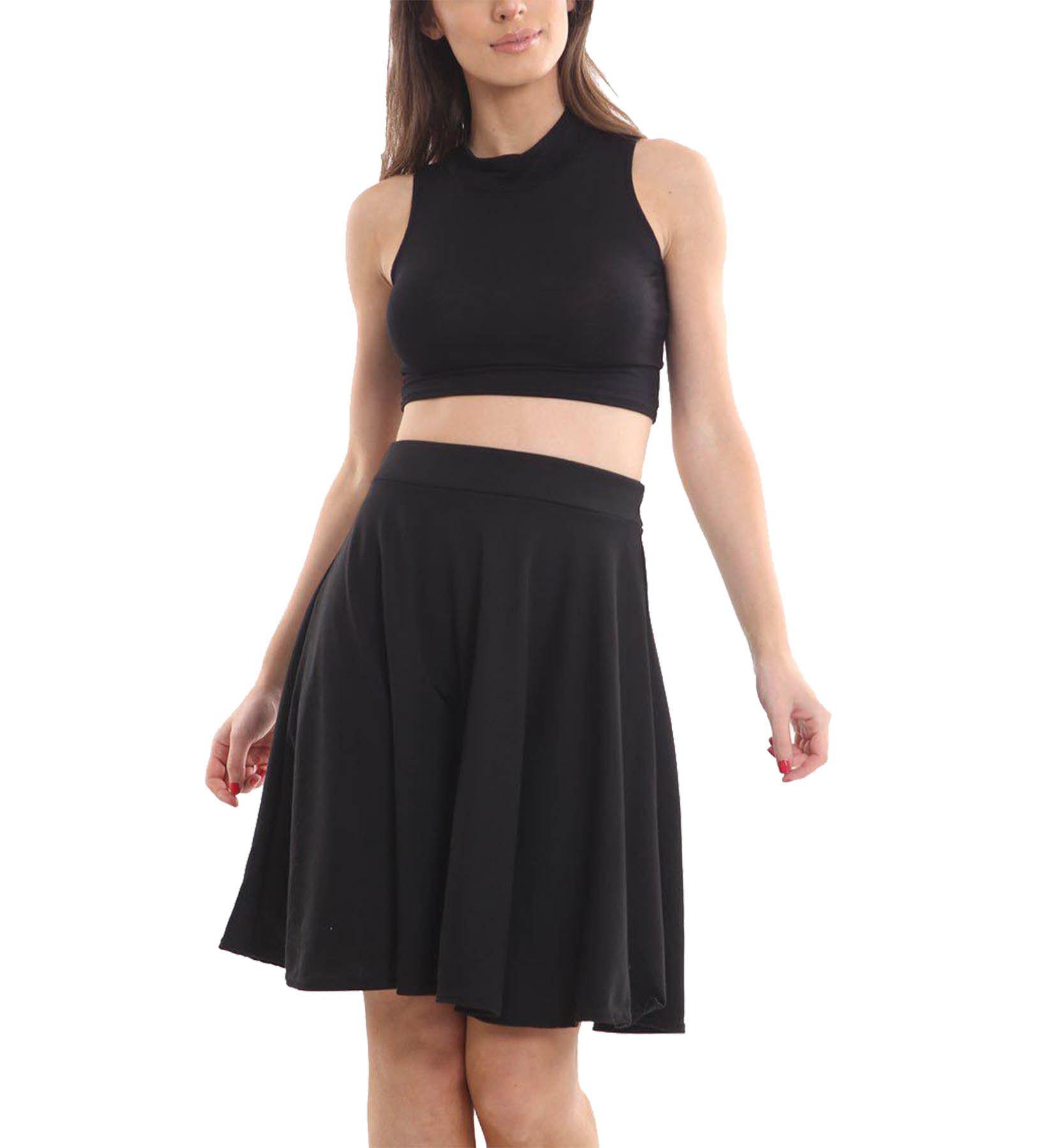New Ladies Plain Pleated Flared Swing Knee Length Skater Skirt Plus Size UK 8-26