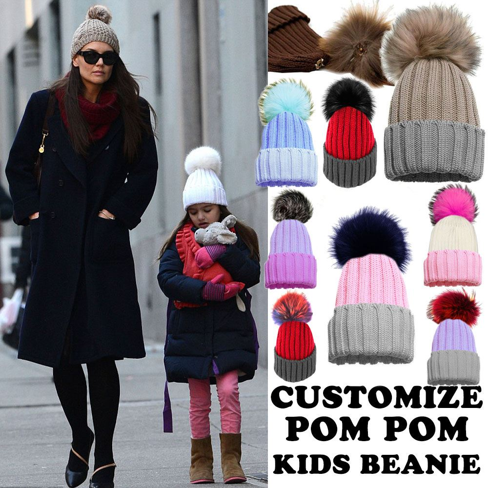 KIDS GIRLS NEW CUSTOMIZABLE FAUX FUR POM POM WINTER BEANIE BOBBLE ... b38e3b6d298