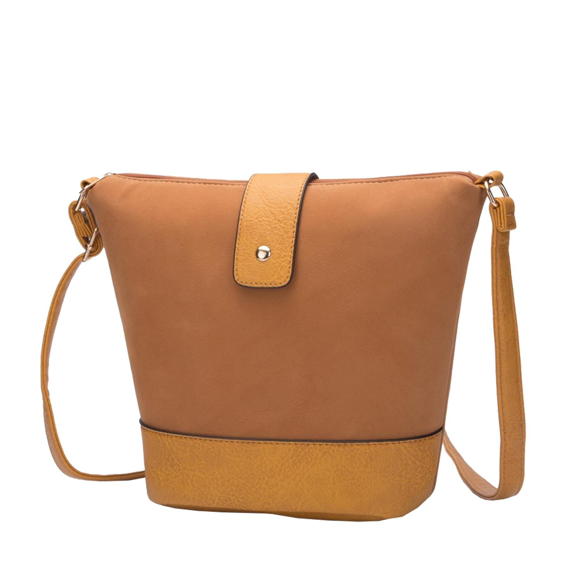 New-Ladies-Two-Toned-Faux-Leather-Fashion-Shoulder-Cross-Body-Bag thumbnail 12