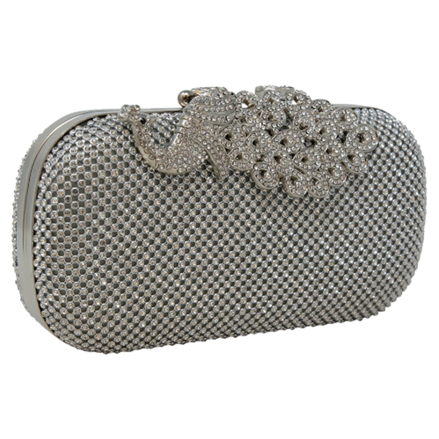 New-Women-s-Jewel-Elephant-Detail-Diamante-Chain-Box-Clutch-Bag-Purse thumbnail 13