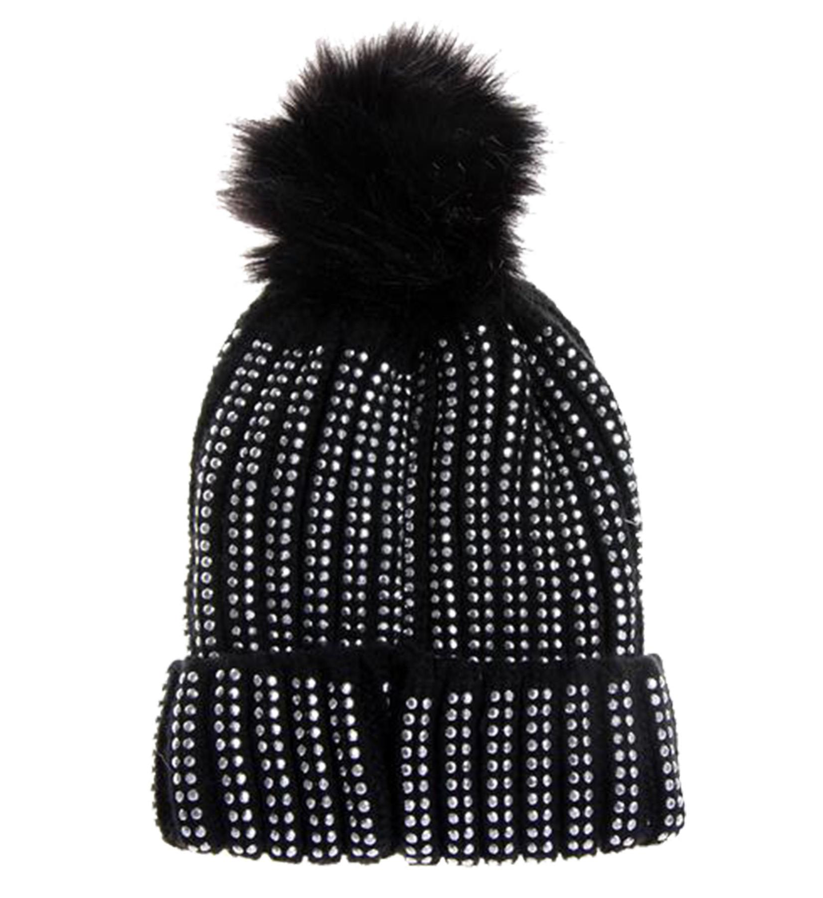 New-Rhinestone-Gem-Embellishment-Synthetic-Fur-Pom-Pom-Women-s-Beanie-Hat thumbnail 6