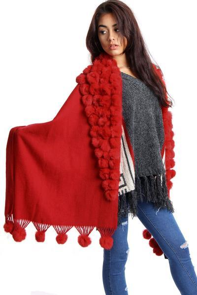 New-Women-s-Genuine-Fur-Pom-Pom-Detail-Tassels-Winter-Shawl-Cape thumbnail 25