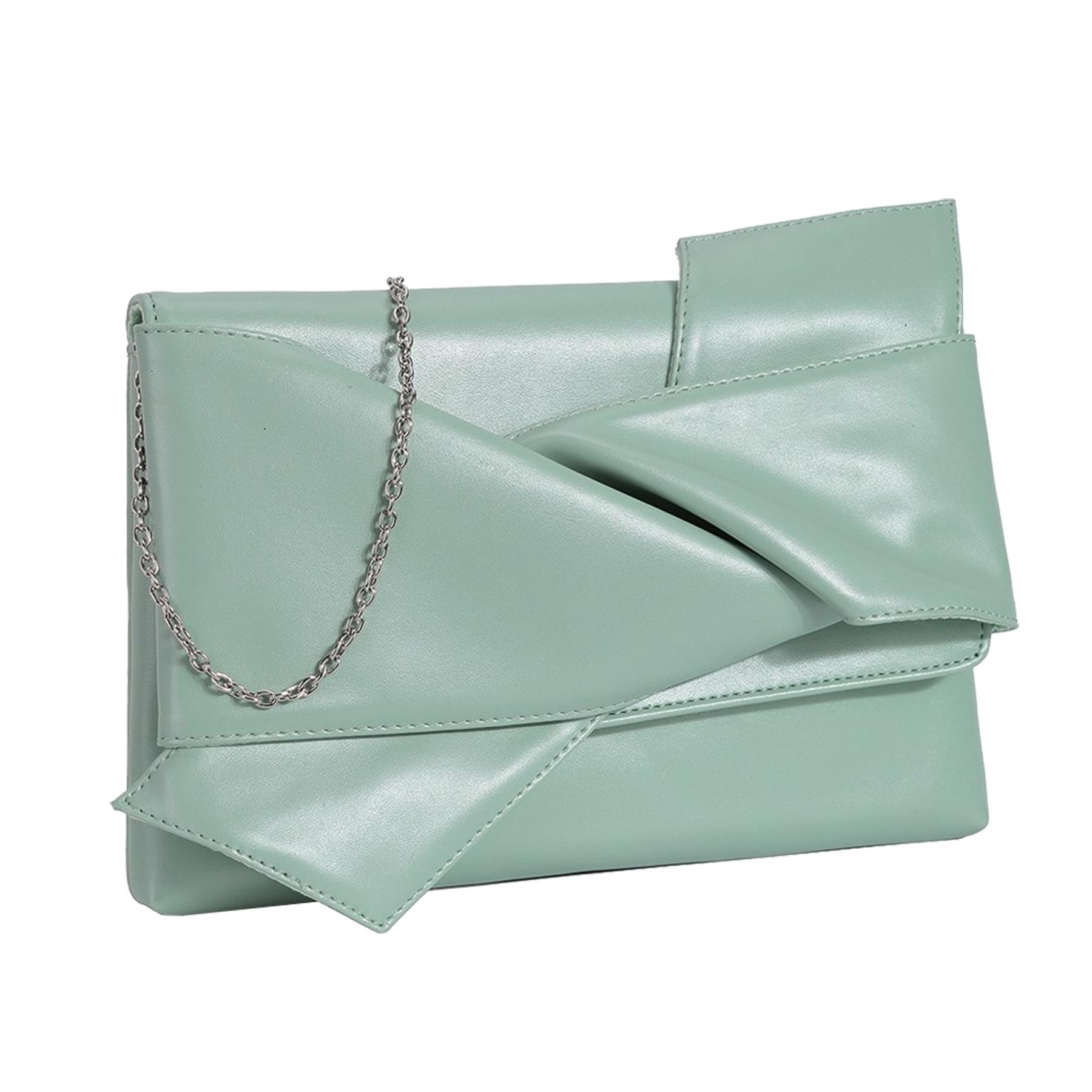 New-Knot-Detail-Shiny-Synthetic-Leather-Ladies-Party-Clutch-Bag-Purse thumbnail 12