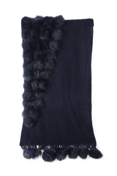 New-Women-s-Genuine-Fur-Pom-Pom-Detail-Tassels-Winter-Shawl-Cape thumbnail 23