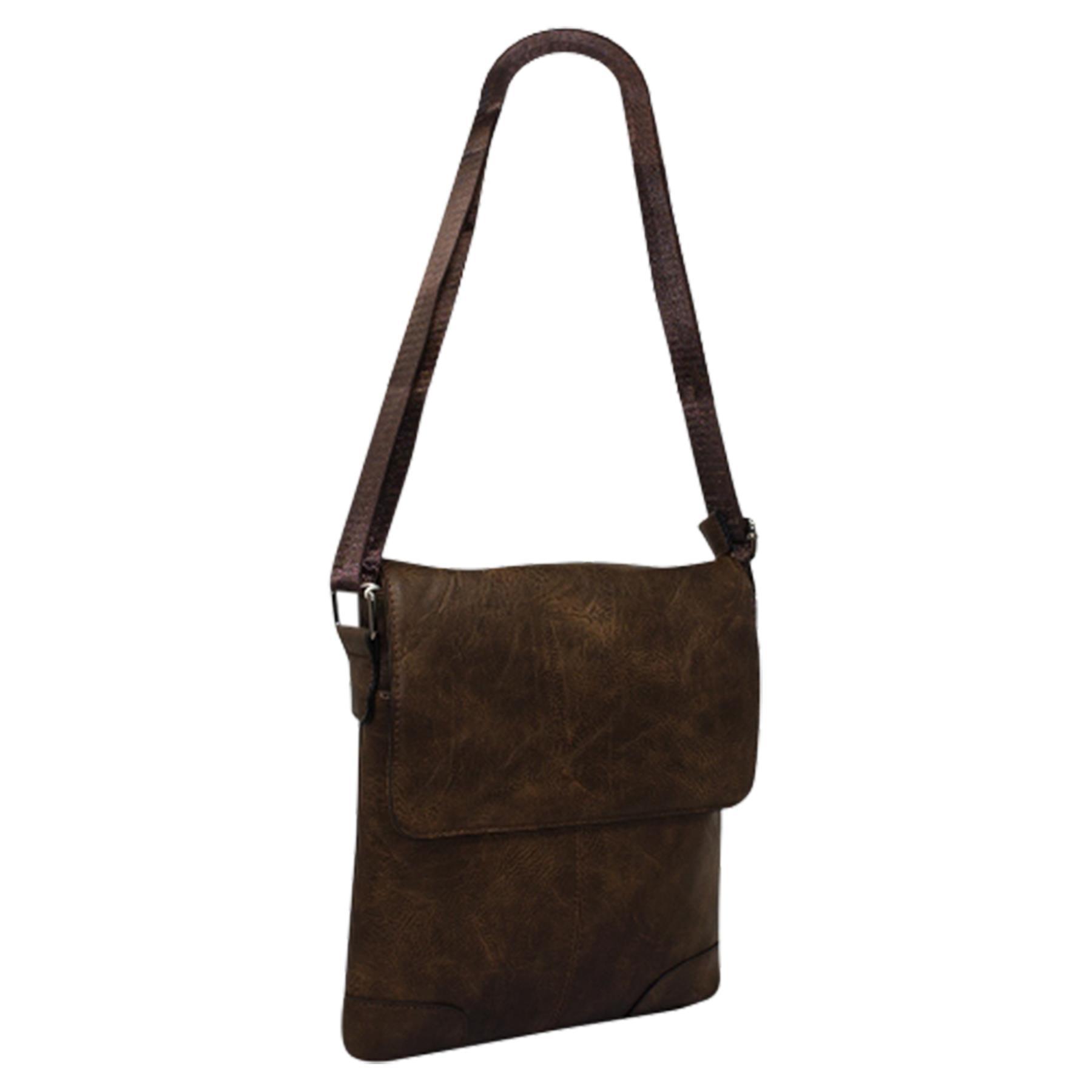 New-Plain-Faux-Leather-Men-s-Travel-Casual-Flap-Over-Messenger-Bag thumbnail 11