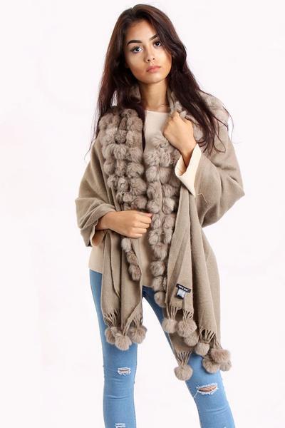 New-Women-s-Genuine-Fur-Pom-Pom-Detail-Tassels-Winter-Shawl-Cape thumbnail 4