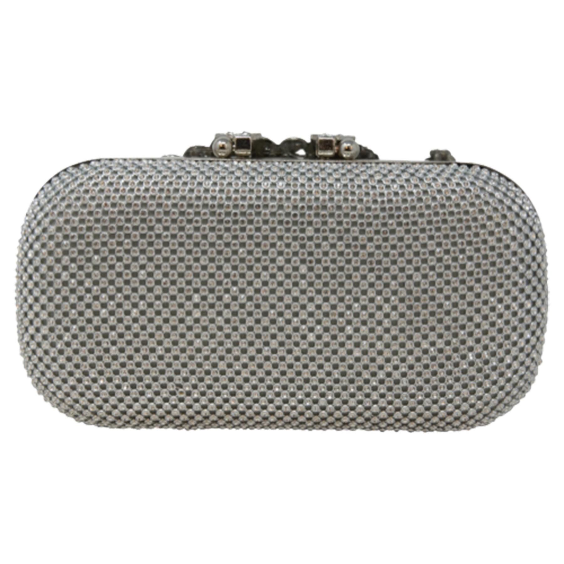 New-Women-s-Jewel-Elephant-Detail-Diamante-Chain-Box-Clutch-Bag-Purse thumbnail 15