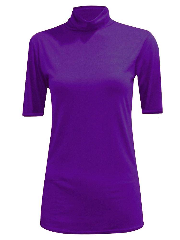 New-Women-s-Half-Sleeve-Plain-Polo-Roll-Neck-Top-Blouse-UK-8-26 thumbnail 15