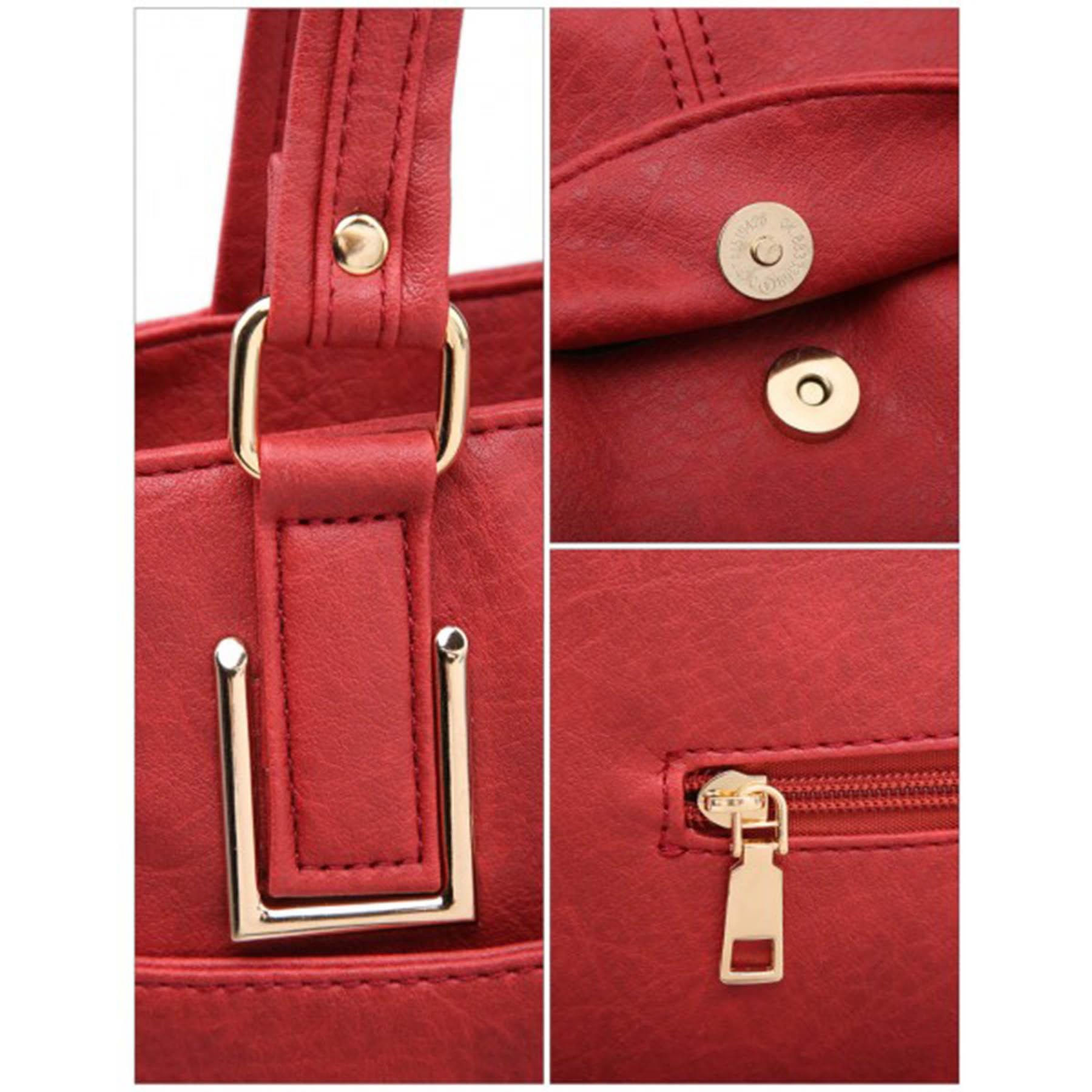New-Panel-Design-Synthetic-Leather-Simple-Shoulder-Shopper-Tote-Bag thumbnail 13