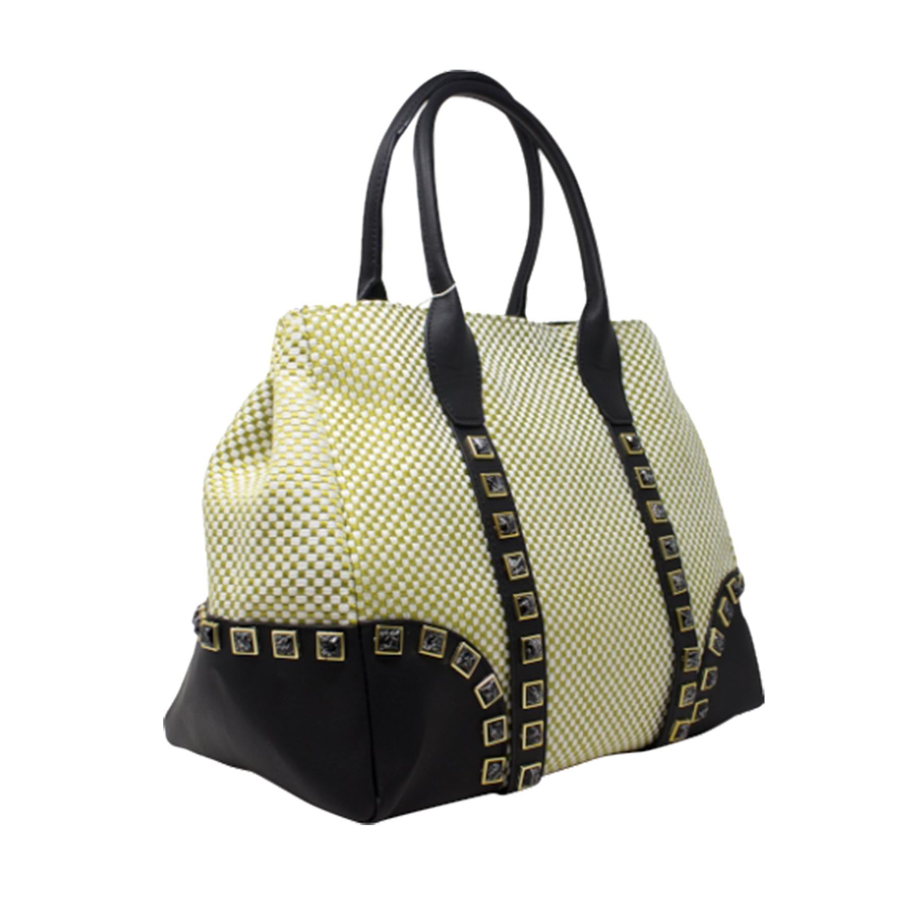 New-Women-s-Small-Check-Pattern-Studded-Design-Tote-Bag-Handbag thumbnail 11