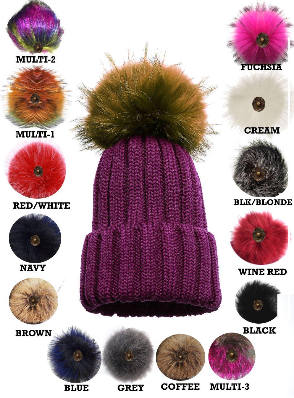1c5f681c7b9ebc New Ladies Knitted Detachable Faux Fur Pom Pom Customizable Bobble ...
