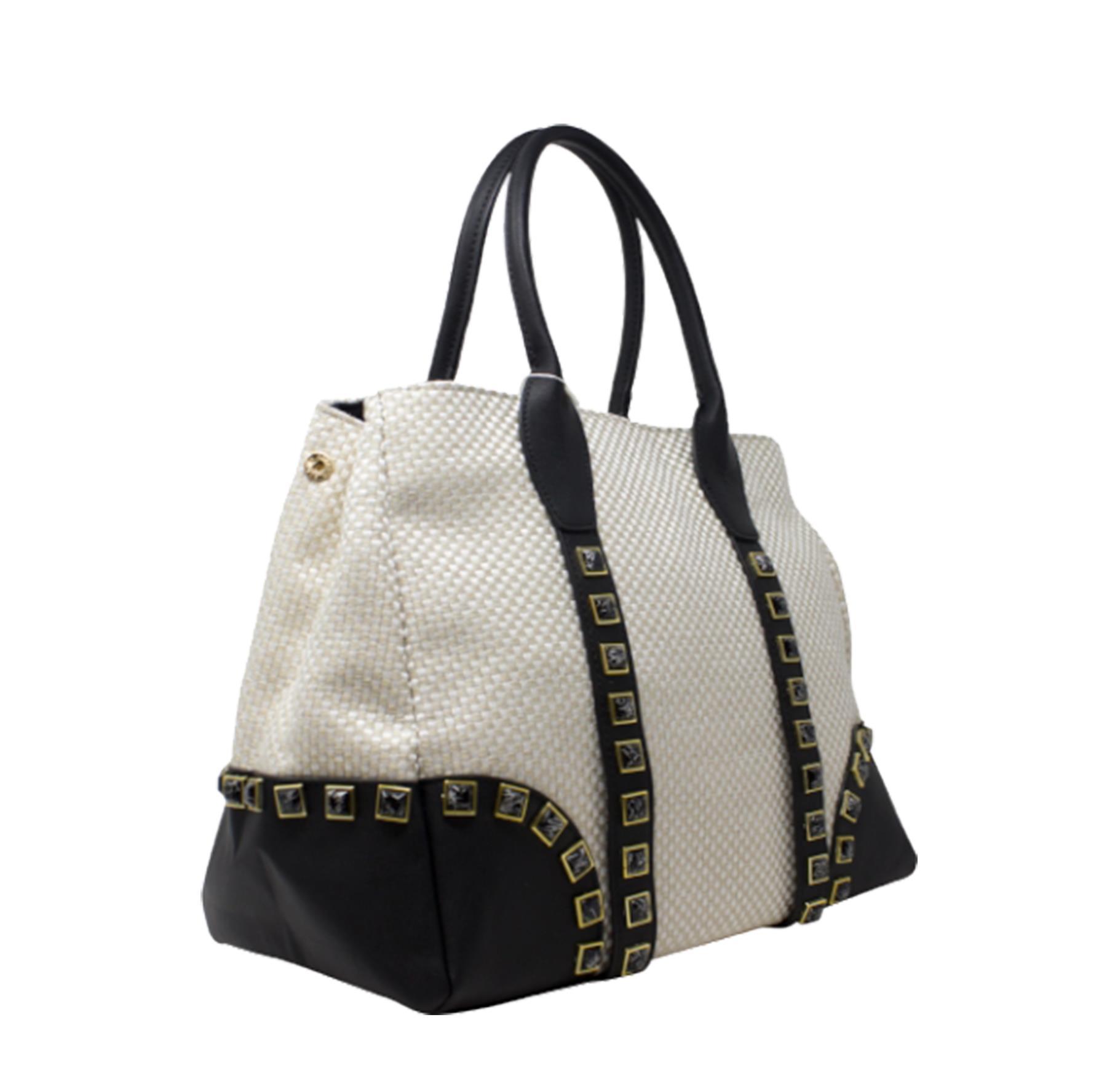 New-Women-s-Small-Check-Pattern-Studded-Design-Tote-Bag-Handbag thumbnail 3