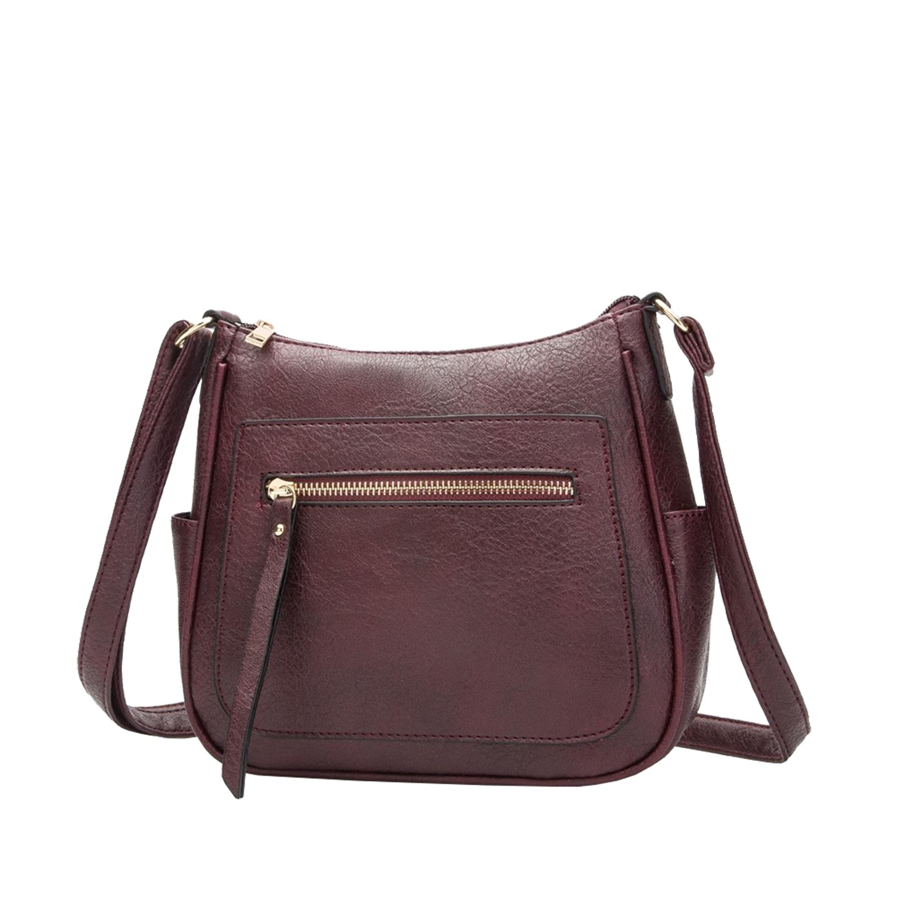New-Women-s-Front-Zip-Faux-Leather-Basic-Small-Crossbody-Messenger-Bag thumbnail 9