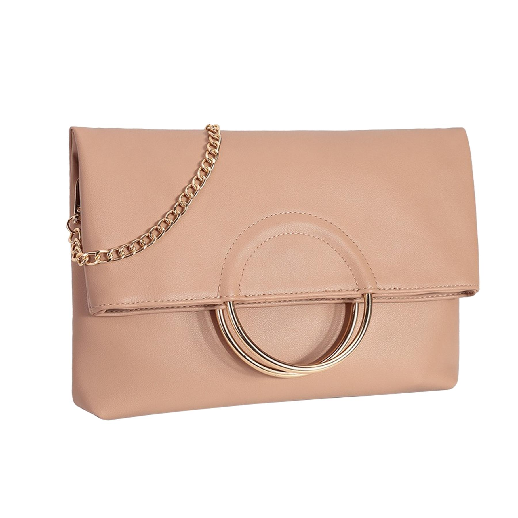New-Women-s-Metallic-Ring-Top-Handles-Faux-Leather-Evening-Clutch-Bag thumbnail 12